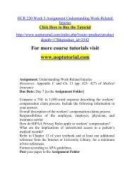HCR 230 Week 5 Assignment Understanding Work-Related Injuries