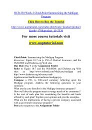 HCR 230 Week 2 CheckPoint Summarizing the Medigap Program