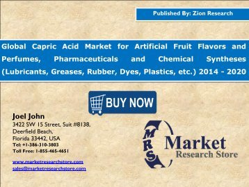 Global Capric Acid Market Analysis, Size, Share, Trends, Segment and Forecast 2014 - 2020