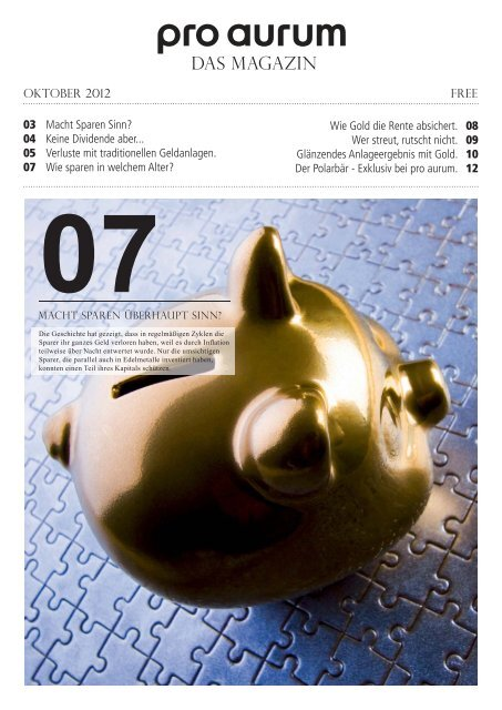 pro aurum Magazin - Ausgabe 7: Macht Sparen überhaupt Sinn?
