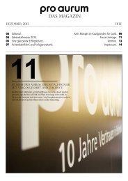 pro aurum Magazin - Ausgabe 11: 10-Jahre pro aurum