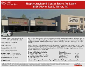 Shopko Anchored Center Space for Lease 1820 Plover Road Plover WI