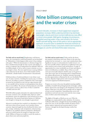 SIWI Policy Brief: Nine billion consumers and the water crises