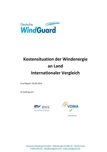 Kostensituation der Windenergie an Land - Internationaler Vergleich