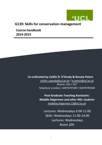G139 Skills for conservation management