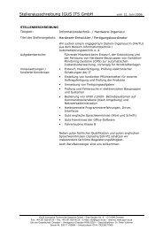 Stellenausschreibung IGUS ITS GmbH