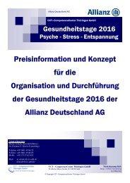 Angebot und Konzept - Gesundheitstage 2016 Allianz Deutschland AG - 08.2015