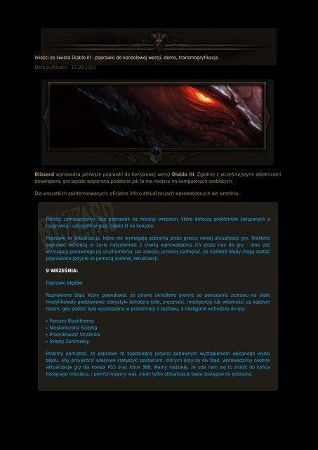 Wieści ze świata Diablo III - poprawki do konsolowej wersji ...