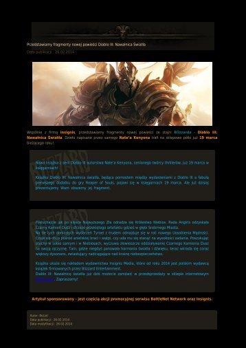 Przedstawiamy fragmenty nowej powieści Diablo III ...