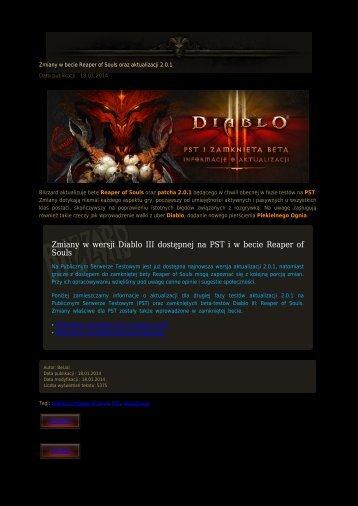 Zmiany w wersji Diablo III dostępnej na PST i w becie Reaper of Souls