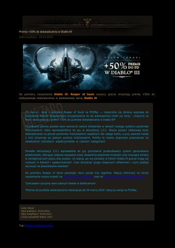 Premia +50% do doświadczenia w Diablo III! - Diablo3.net.pl