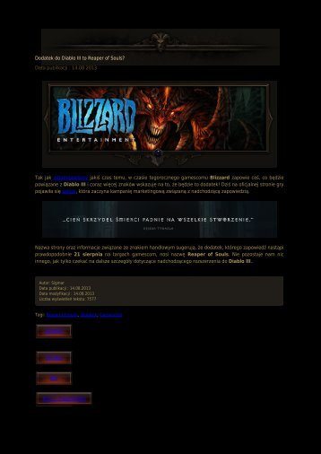 Dodatek do Diablo III to Reaper of Souls? - Diablo3.net.pl
