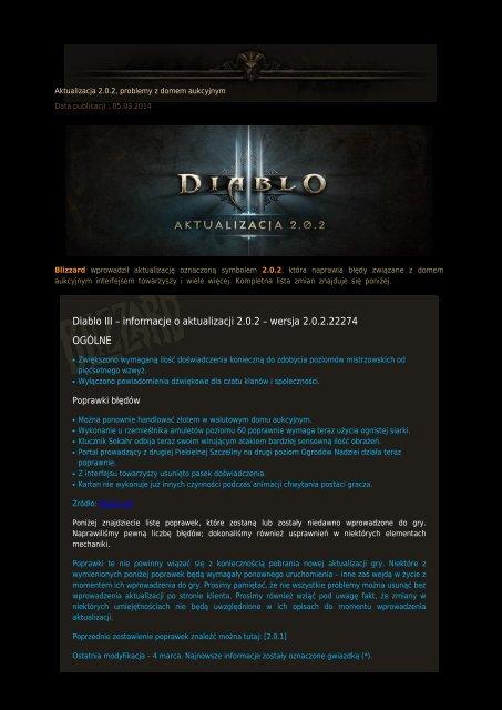 Diablo III – informacje o aktualizacji 2.0.2 – wersja 2.0.2.22274 OGÓLNE