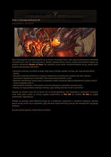 Wieści z mrocznego Sanktuarium #4 Data publikacji : 12.02 ...