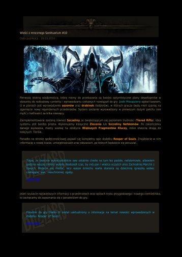 Wieści z mrocznego Sanktuarium #10 Data publikacji ...