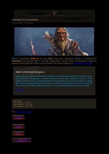 Ważna informacja dla graczy
