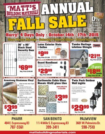 Matts - Fall Sale 2015
