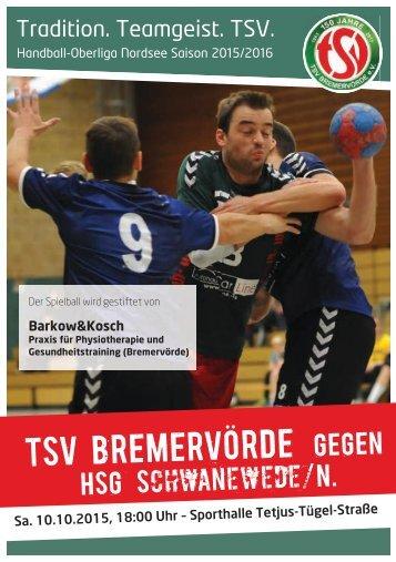 Hallenheft TSV Bremervörde gegen die HSG Schwanewede/Neuenkirchen am 10.10.2015