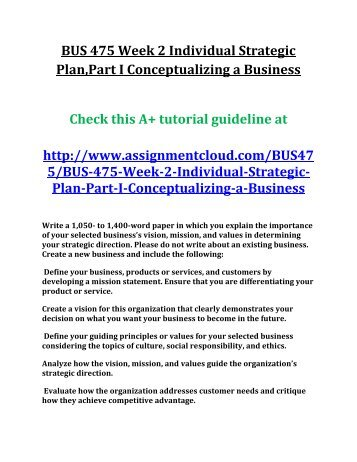 UOP BUS 475 Week 2 Individual Strategic Plan,Part I Conceptualizing a Business