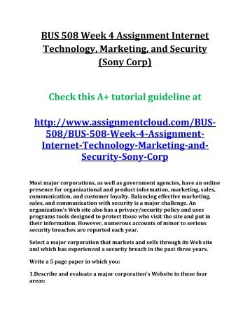 bus508 technology and security Bus 508 assignment 4 internet technology, marketing, and security (sony corp) bus 508 assignment 5 financial management (pepsi and coca cola.