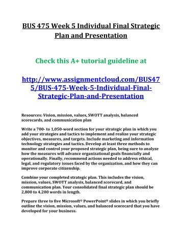 bus475 week 2 individual assignment Bus 475 week 3 individual assignment strategic plan,part ii swott analysis conduct an internal and external environmental analysis for your proposed business.