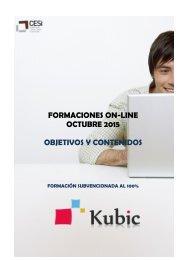 FORMACIONES ON-LINE OCTUBRE 2015 OBJETIVOS Y CONTENIDOS
