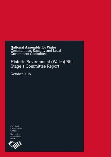 Historic Environment (Wales) Bill Stage 1 Committee Report