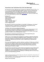 Informationen über die Oberbank AG und ihre ...