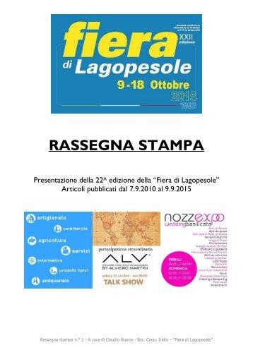 "Rassegna Stampa - Presentazione 22^ edizione ""Fiera di Lagopesole"""
