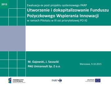 Utworzenie i dokapitalizowanie Funduszu Pożyczkowego Wspierania Innowacji