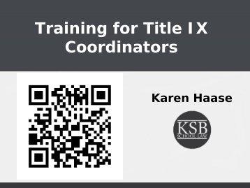 Training for Title IX Coordinators