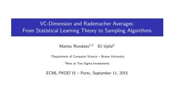 From Statistical Learning Theory to Sampling Algorithms