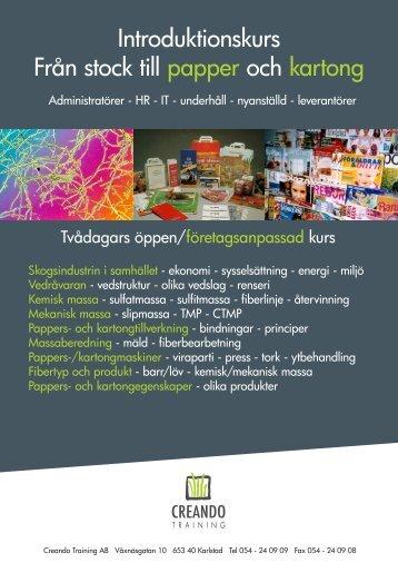 Introduktionskurs Från stock till papper och kartong
