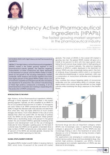 High Potency Active Pharmaceutical Ingredients (HPAPIs)