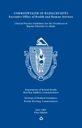 Bipolar Disorder Guidelines for the Treatment of Adults - Mass.Gov