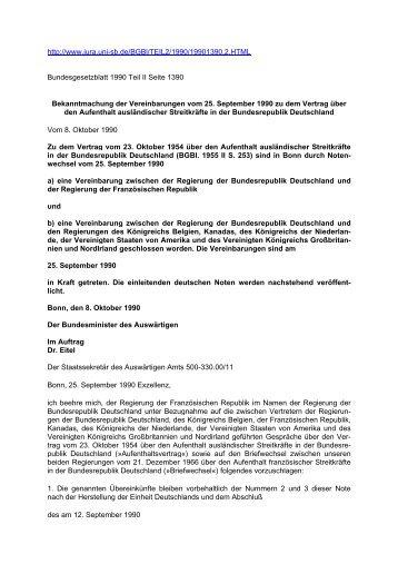 BESATZUNGSRECHT - Bekanntmachung der Vereinbarungen vom 25. September 1990