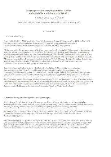 Schauberger - Messungen-Hyperbolischer-Trichter