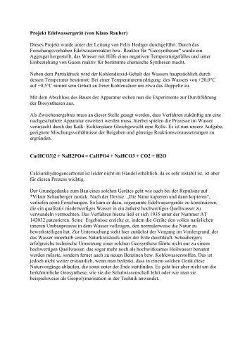 Projekt Edelwassergerät, Mazenauer, Repulsine