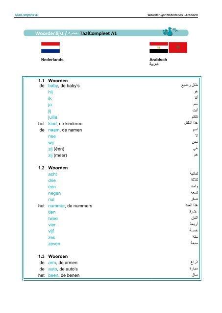woordenlijst / درسم taalcompleet a1