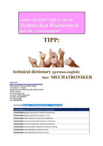 Tipp fuer Mechatronik-Azubis:  deutsch-englisch Begriffe-Uebersetzer/ Technik-Woerterbuch