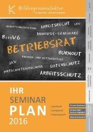 Der K&K Bildungsmanufaktur Seminarplan 2016
