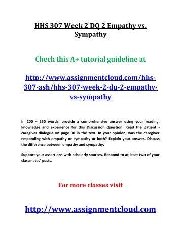 HHS 307 Week 2 DQ 2 Empathy vs. Sympathy