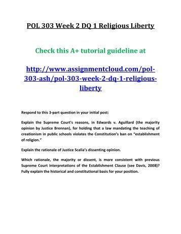 POL 303 Week 2 DQ 1 Religious Liberty