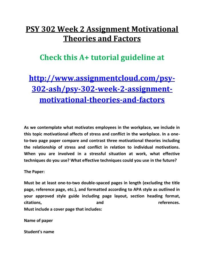 motivation theories psy 230 Psy 235 learning theory and human behavior (3-0) 3 crs investigates the historical and contemporary principles of learning theories as applied to human and animal behaviors.