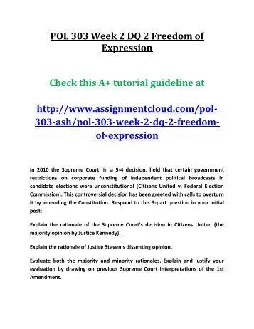 POL 303 Week 2 DQ 2 Freedom of Expression
