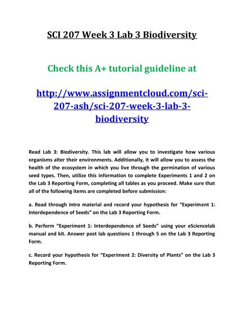 living environment biodiversity lab answers