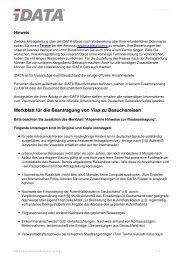 Merkblatt für die Beantragung von Visa zu Besuchsreisen