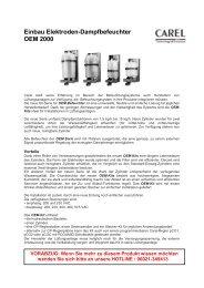 Einbau Elektroden-Dampfbefeuchter OEM 2000 - Günther Kälte ...