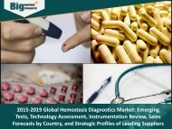 2015-2019 Global Hemostasis Diagnostics Market- Emerging Tests, Technology Assessment, Instrumentation Review, Sales Forecasts by Country, and Strategic Profiles of Leading Suppliers