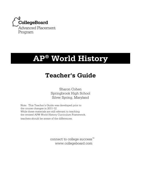 AP World History Teacher S Guide AP Central College Board